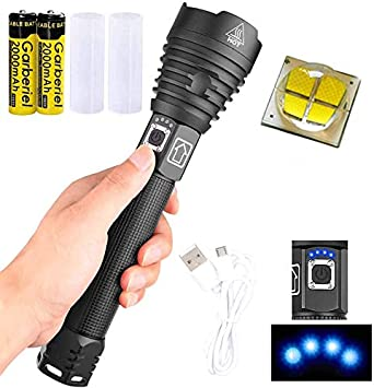 900000LM Super Bright XHP90+COB LED USB Rechargeable Flashlight Zoom Torch BT
