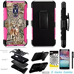 For ZTE ZMAX Pro Z981 /3Items [Clear LCD Film]+Stylus Pen+[Impact Resistance] Dual Layer [Belt Clip] Holster Combo [KickStand] Phone Case Tree Deer - Pink