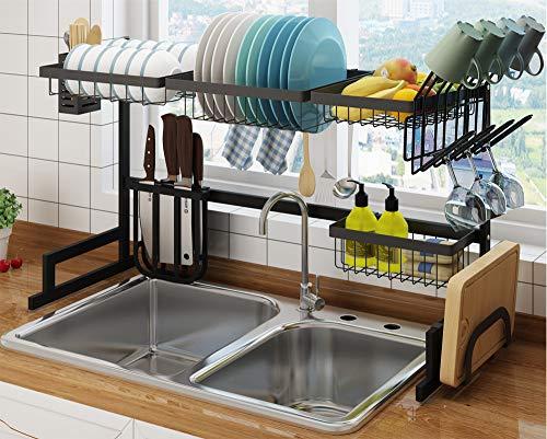 Kitchen Storage Dish Drying Rack Over the Sink, Large Drainer Shelf Kitchen Organization and Storage for Plates, Bottles, Bowls, Towels, Cutting Board, Knifes, Sponges, Utensils Basket Holder
