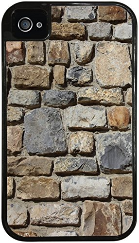 Stones Rock Wall Background Pattern Black 2-in-1 Protective Case with Silicone Insert for Apple iPhone 4 / 4S by Moonlight Printing