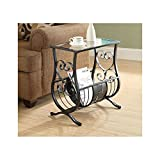 Monarch Specialties Metal Magazine Table with Tempered Glass, Satin Black