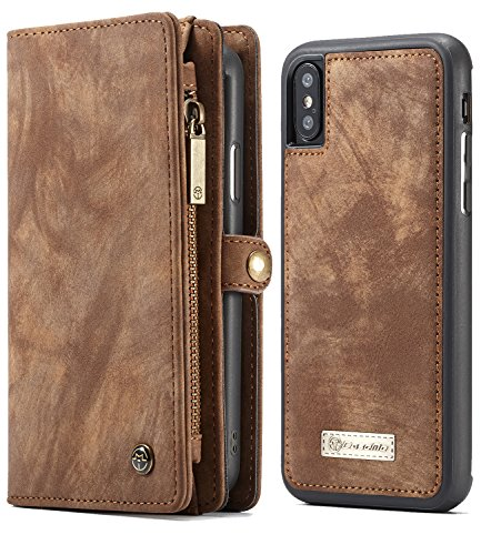 (iPhone XS Case Wallet, iPhone X Detachable Slim Cover, XRPow Premium Leather Folio Magnetic Wallet Protection Card Slot Holder Removable Back Shell Carrying Cover for Apple iPhone X / XS 5.8INCH BROWN)