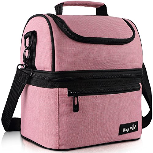 Hap Tim Lunch Box Insulated Lunch Bag Large Cooler Tote Bag for Adult,Men,Women,Kids, Double Deck Cooler for Office/School/Picnic/Travel/Camping(Pink 16040-PK)
