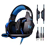 KOTION EACH G2000, 3.5mm PC Stereo Gaming Headset with in-line Mic, Over-ear fit with Noise isolation, Integrated Breathing LED Light, For Laptops or Computers [CAN'T USE ON PS4](Blue)