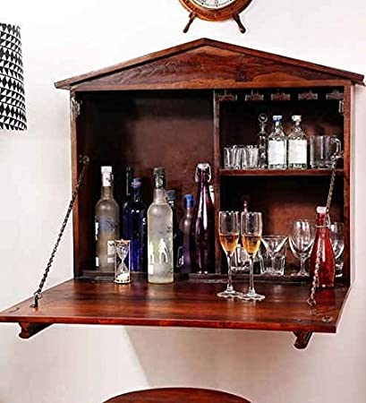 Ringabell Aperitif Solid Wood Wall Bar Cabinet (Teak)