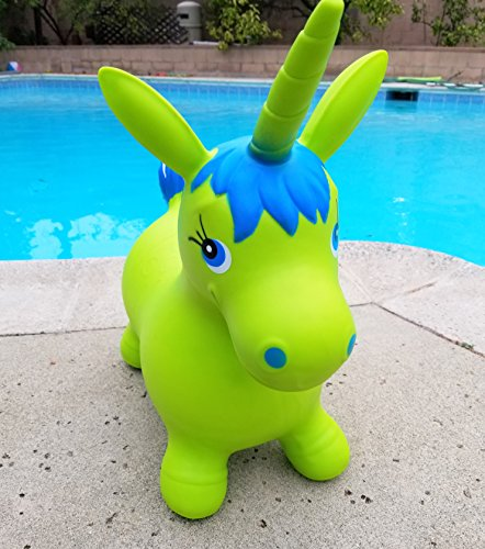 Bouncy Magical Horn Blue Green Unicorn Hopper Animal Inflatable Ride-On Toy, Includes Hand Pump, Great Gift For Kids by Winner