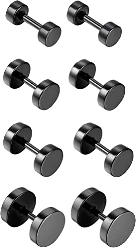 FAKE CHEATER PLUG TUNNEL BARBELL EARRINGS BLACK STAINLESS STEEL 3mm