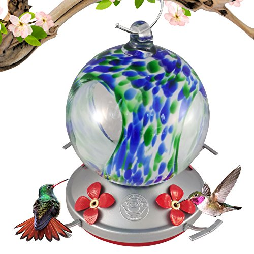 Grateful Gnome Hummingbird Feeder - Hand Blown Glass - Blue and Green Speckled Globe with Window - 24 Fluid Ounces …