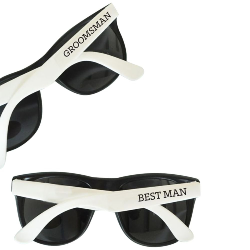 White Groom and Groomsmen Sunglasses Set of 6 Style EB3121