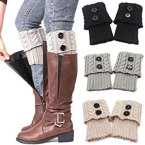 beifon 3 paar beenwarmers voor dames, gebreide beenwarmers, warme wintergebreide beenwarmers, korte knopen, beenwarmers…