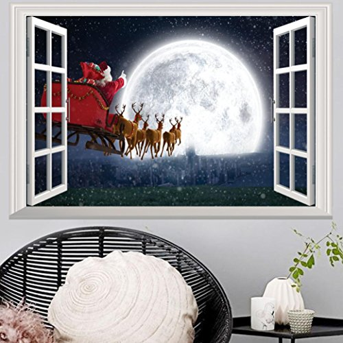 Highpot 3D Windows Wall Sticker For Christmas Santa Claus Mural Decals Vinyl Art Home Decors - Christmas Decals Wall