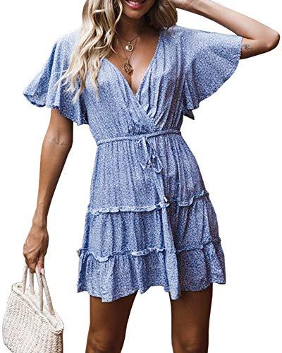 Valphsio Womens V Neck Ruffle Dress Floral Print Flare Sleeve Boho Drawstring Swing Dresses Blue ()