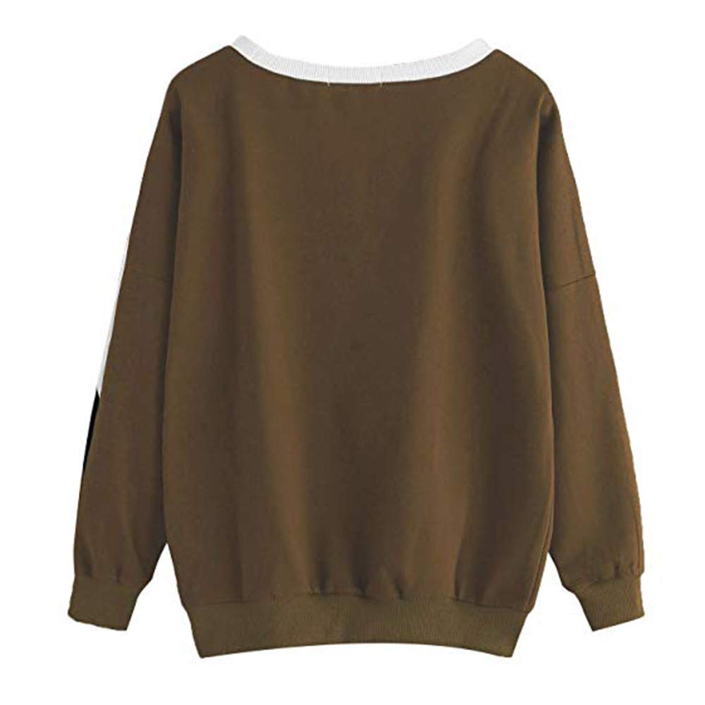 Sunhusing Womens Round Neck Pullover Casual Stitching Long-Sleeve Sweatshirt Top at Amazon Womens Clothing store: