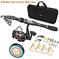 PLUSINNO Telescopic Fishing Rod and Reel Combos Full Kit,...