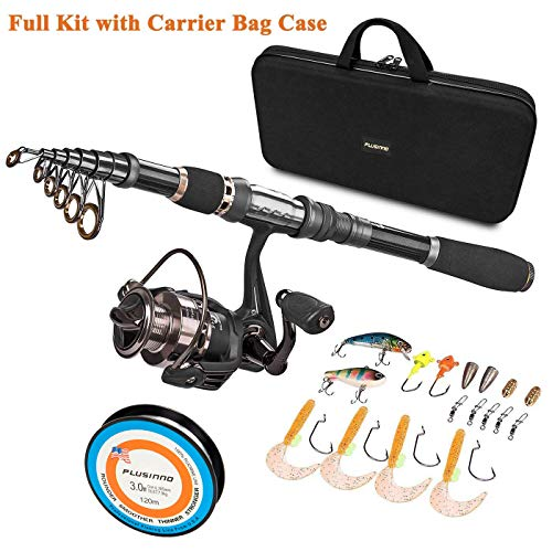 PLUSINNO Telescopic Fishing Rod and Reel Combos Full Kit, Spinning Fishing Gear Organizer Pole Sets with Line Lures Hooks Reel and Fishing Carrier Bag Case ()