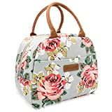 LORDAMERE Insulated Lunch Bag for Women, Floral Waterproof Thermal Lunch Bags for Work, Flower Insulated Lunch Box Cooler Bag (Grey)