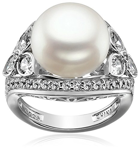 Platinum-Plated Sterling Silver Cubic Zirconia Vintage Freshwater Cultured Pearl Cocktail Ring, Size 9