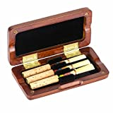 Kmise Oboe Reeds Case Maple Storage Box for 3 Pcs Reeds Amber Color Musical Parts Accessories (MI1753)