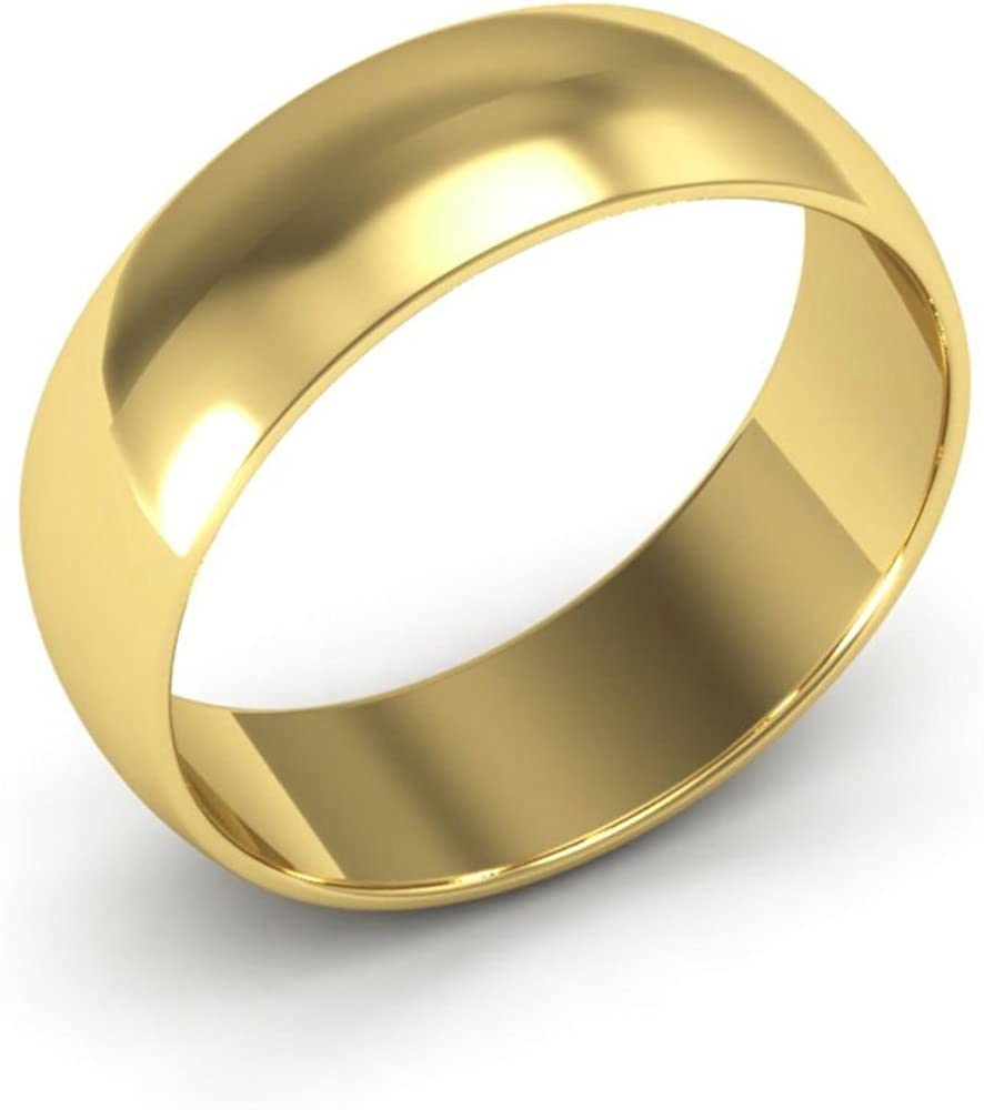 14K Yellow Gold mens and womens plain wedding bands 6mm light half round