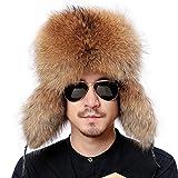 Valpeak Mens Winter Hat Real Raccoon Fur Genuine Leather Russian Ushanka Hats (Raccoon)