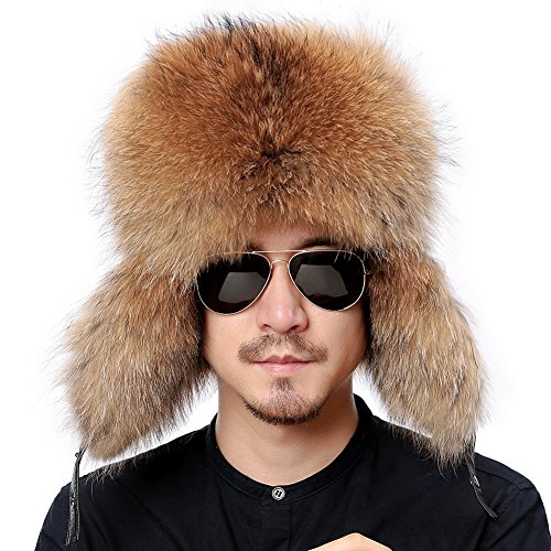 (Valpeak Mens Winter Hat Real Raccoon Fur Genuine Leather Russian Ushanka Hats (Raccoon))