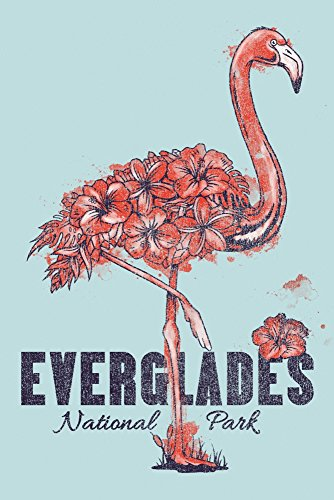 - Everglades National Park - Flamingo - Flowers (16x24 Giclee Gallery Print, Wall Decor Travel Poster)