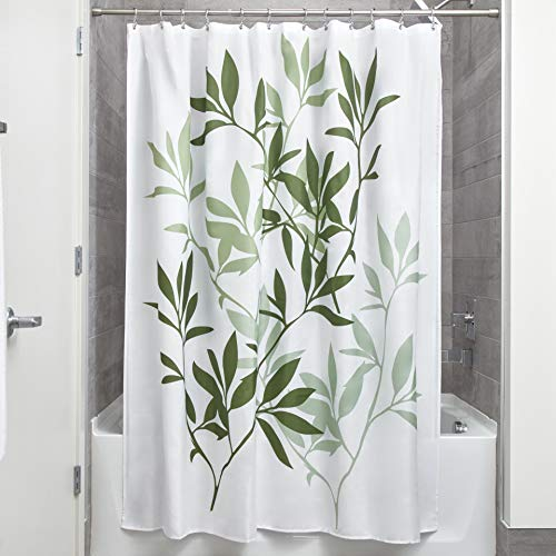 InterDesign Leaves Fabric Shower Curtain, Modern Mildew-Resistant Bath Liner for Master Bathroom, Kid's Bathroom, Guest Bathroom, 72 x 72 Inches, Green and White (Green Bamboo Rug)