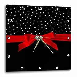 3dRose Uta Naumann Faux Glitter Pattern - Polkadots Valentine-Black and White Dots Confetti Red Ribbon Diamond - 10x10 Wall Clock (dpp_275459_1)