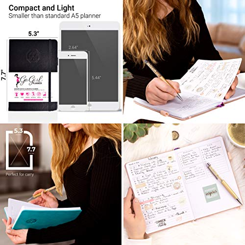 GoGirl Planner and Organizer for Women - Pocket Size Weekly Planner, Goals Journal & Agenda to Improve Time Management, Productivity & Live Happier. Undated - Start Anytime, Lasts 1 Year - Turquoise