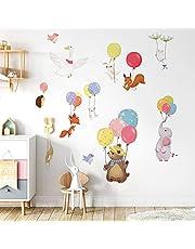 decalmile Muurstickers Kleurrijk Ballonnen Muurtattoo Dieren Wanddecoratie Baby Kinderkamer Slaapkamer Speel Kamer