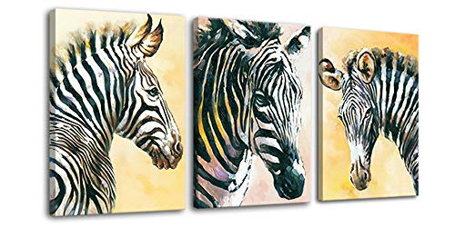 Hongwu Canvas Art Zebra Painting Wall Art Canvas Prints 3 Piece Animal Zebra Pictures Stretched Ready to Hang for Home Office Wall Decor -