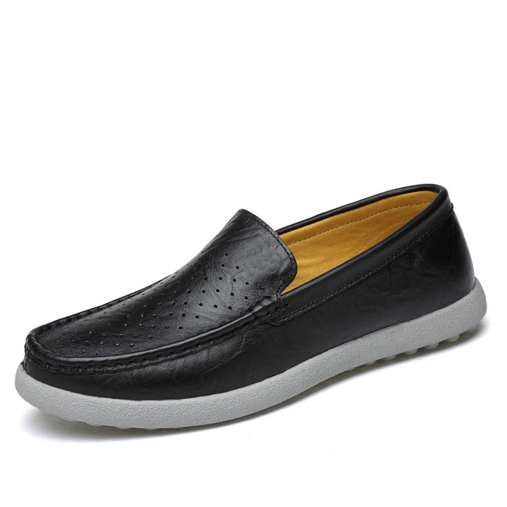 Black Fashion shoes, Standard shoes shoes Men's Fashion Driving Loafers Casual Classic Solid color Low-top Breathable Hollow Boat Moccasins Leisure shoes