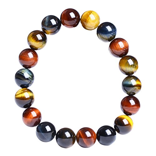 Merssavo Natural Tiger Eye Stone Lucky Bless Beads Men Woman Jewelry Bracelet Bangle ()
