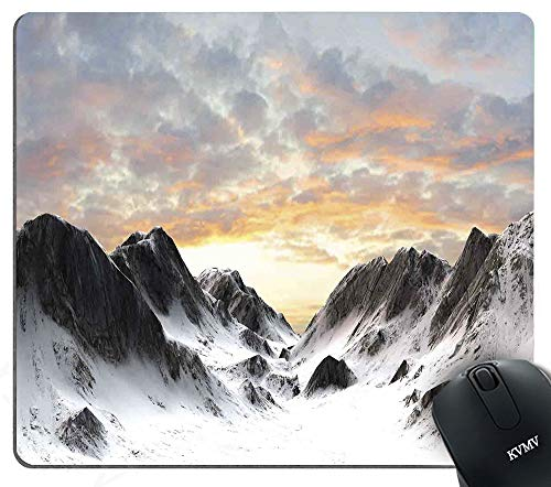 Gaming Mouse Pads Majestic Snowy Mountains Winter Season Frozen Lands Peaks with Scenic Sky Mouse pad for Notebooks,Desktop Computers Mini Office Supplies Non-Slip Mouse Mats - Frozen Mini Notebooks