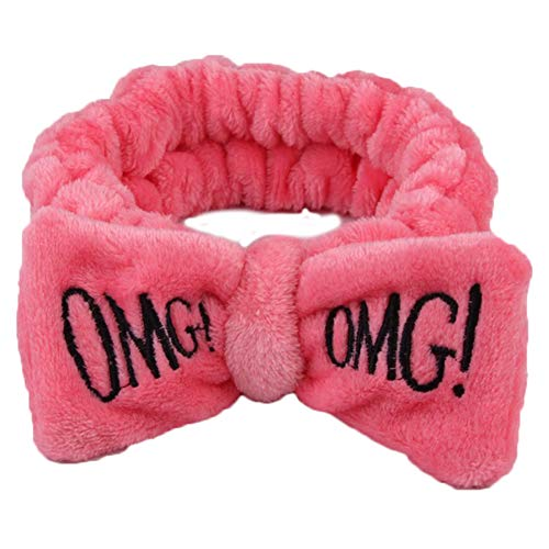 Aland Cute Women Letter Bowknot Plush Headband Face Washing Hair Band Elastic Headwear Watermelon Red
