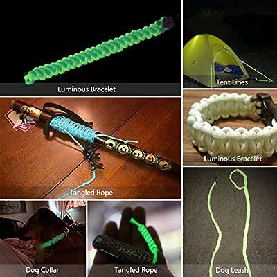 FerDIM 550 Glow Portable Survival 9 Strand Cord Paracord Parachute Bracelets Luminous in The Dark 100/% Nylon 25ft 50ft 100ft Multi Color