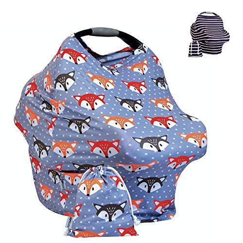 Premium Baby Car Seat Canopy - Multi Use Breastfeeding Cover Up - Shawl for Nursing, 360ᵒ Privacy, Shopping Cart, Stroller or Carseat Cover- Bonus Matching Carry Pouch - Fox Grey Pattern