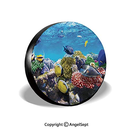 (Spare Tire Cover,Tropical Corals Fish School Natural Life in Shallow Underwater Marine Seascape Image,Multicolor,for Jeep Trailer SUV RV and Many Vehicles,15 Inch)