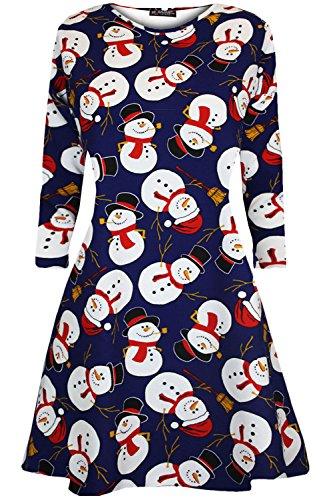 ff3d1fe2e75c01 Paskyee Damen Mini Kleider Weihnachtsbäume Weihnachts Santa Schneemann  Rentier Rudolph Glocken Geschenk Damen Swing Top  Amazon.de  Bekleidung