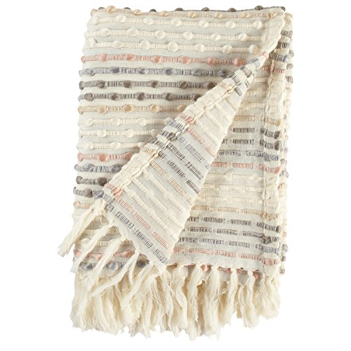 Lowest Prices! Rivet Bubble Textured Lightweight Decorative Fringe Throw Blanket, 47.7W x 60L, Gre...