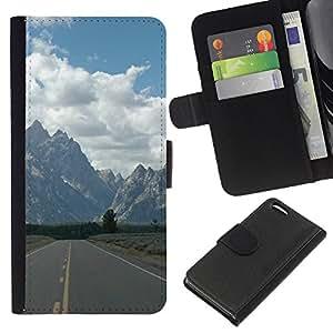 LECELL--Cuero de la tarjeta la carpeta del tirón Smartphone Slots Protección Holder For Apple Iphone 5C -- Camino A Las Montañas --