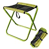 RFVBNM Camping Mazar aluminum folding stool fishing chair outdoor leisure stool outing BBQ sketch train lined up chairs,green
