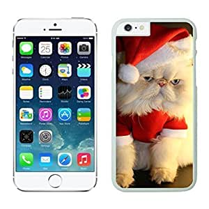 2014 Newest Christmas Wearing White Fur Lovely Cat White Phone Case For Iphone 6 4.7 Inch