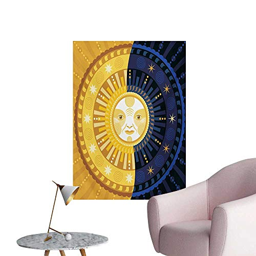 Anzhutwelve Sun and Moon Photographic Wallpaper Solstice Theme Transformation of The Day Ornament Spiritual Boho Art DesignMulticolor W32 xL48 Funny Poster