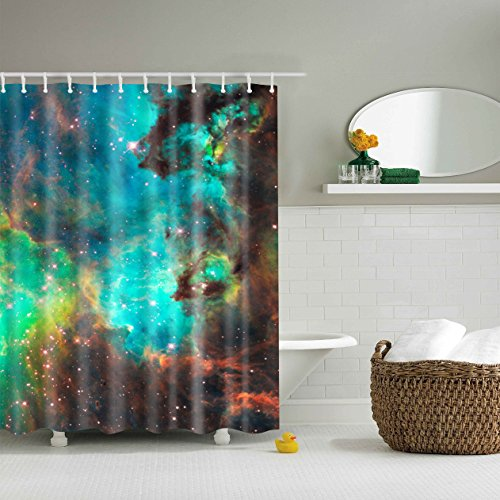 GWELL Waterproof Polyester Fabric Shower Curtain W/ 12 Hooks, Colorful Explosive in Space Galaxy Astronomic Magical Picture Print (70.86X70.86-Inch, #8) - Galaxy Curtains