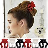 Bleaching Your Hair White - RC ROCHE ORNAMENT Womens Pumpkin Hair Secure No Slip Grip Claw Clips Styling Plastic Strong Durable Comfortable Hold Premium Quality Beauty Accessory Girls, 6 Pack Count Medium Red White and Black