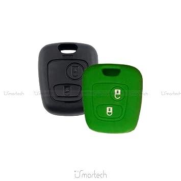 Carcasa Caparazón Multicolor Material Silicona Suave para concha Llave 2 Teclas Coche Toyota Aygo (10 fantásticos colores verde