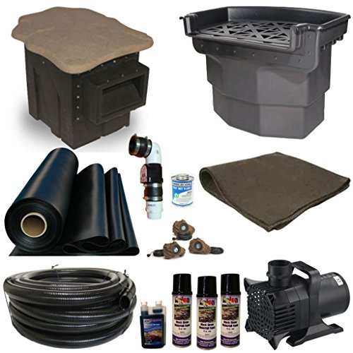 30 x 50 Mega Fifty Koi Pond Kit PondBuilder Elite Skimmer and Big Bahama 38 Inch Waterfall 10,000 GPH Pump MFC10