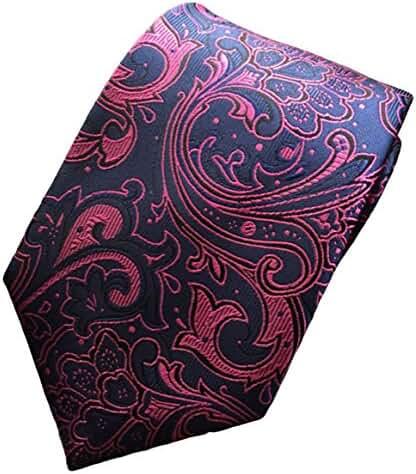 MENDENG New Classic Paisley Navy Blue Rose Jacquard Woven Silk Men's Tie Necktie