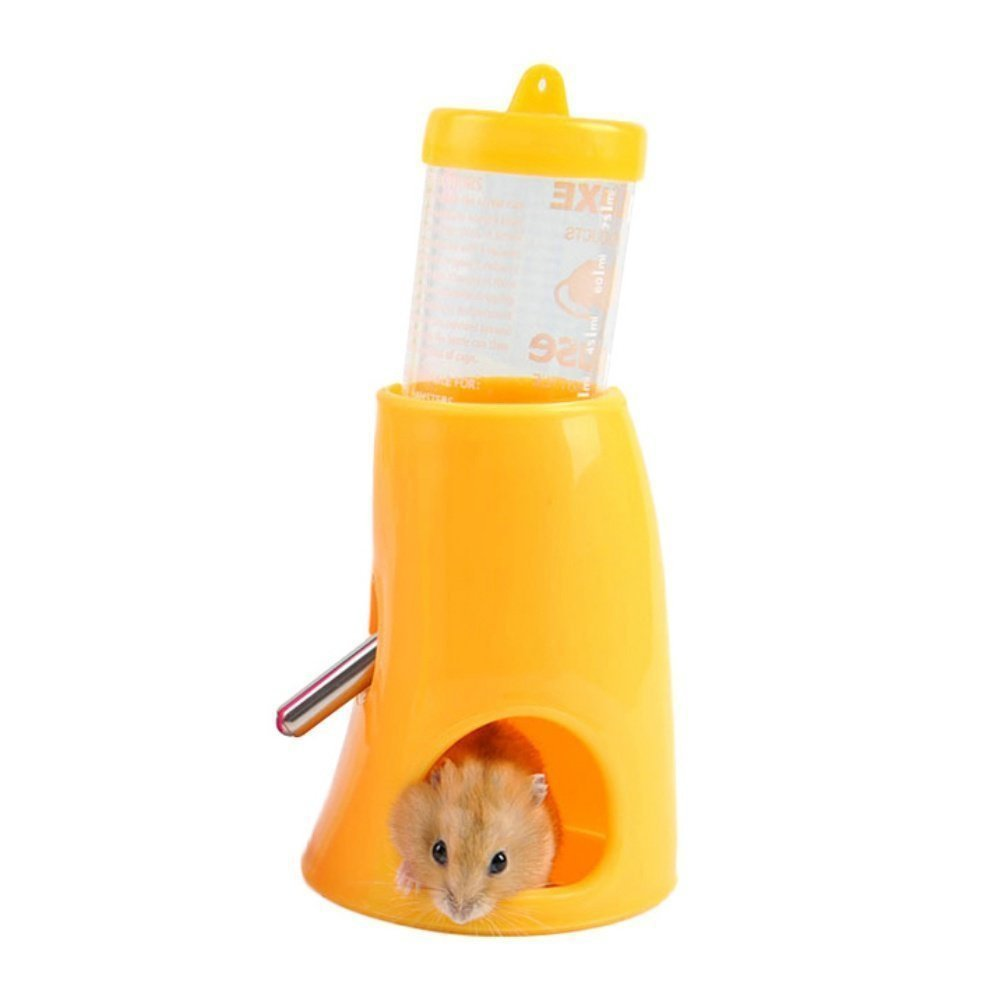 Ofanyia Piccolo nascondiglio per animali domestici Nascondino per animali 2 in 1 borraccia con base in plastica Habitat vivente per criceto nano